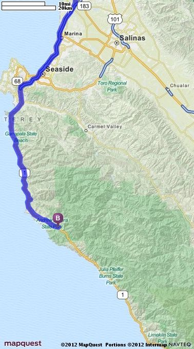 Driving Directions From Santa Cruz California To Big Sur - Mapquest california