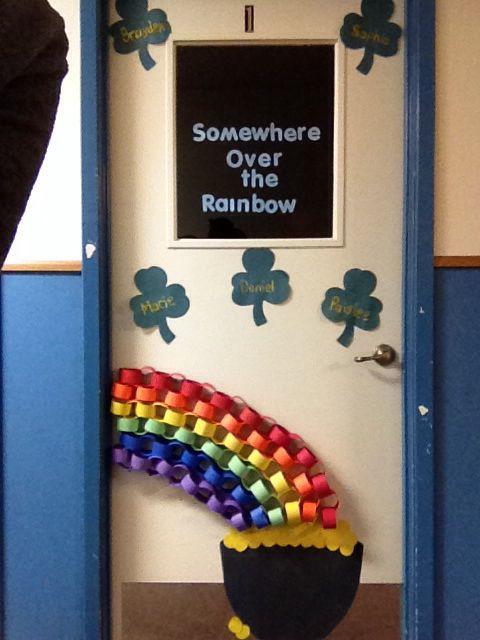 St Patrick S Day Classroom Door Chain Link Rainbow Preschool