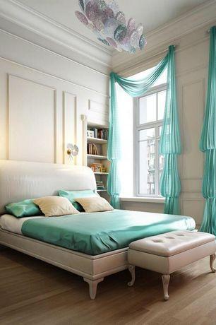 Traditional Master Bedroom with Laminate floors, Nile Bedding - Bedding Deep Pocket Satin Sheet Set, Built-in bookshelf