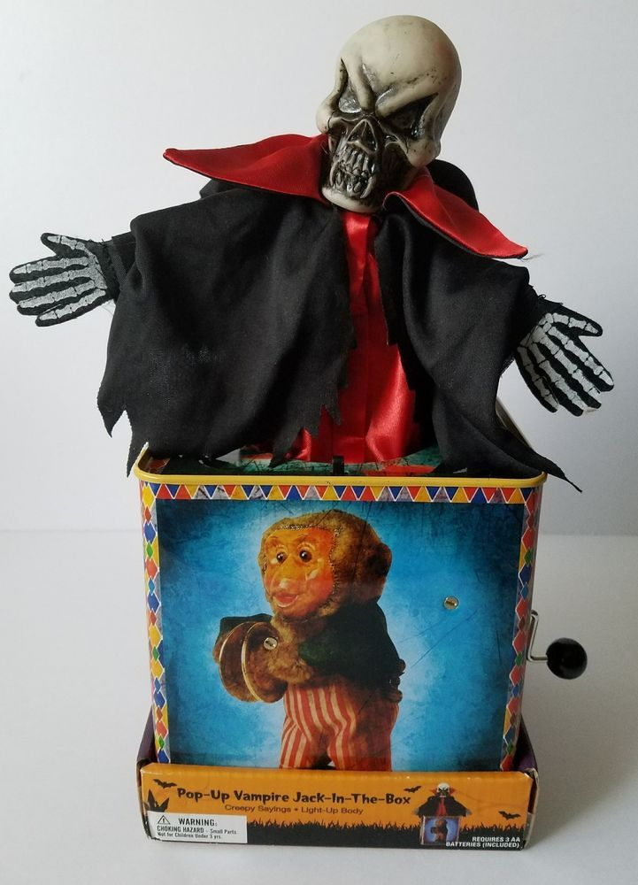 Halloween Jack In The Box Prop.Vampire Skeleton Jack In The Box Talking Toy Haunted House Halloween
