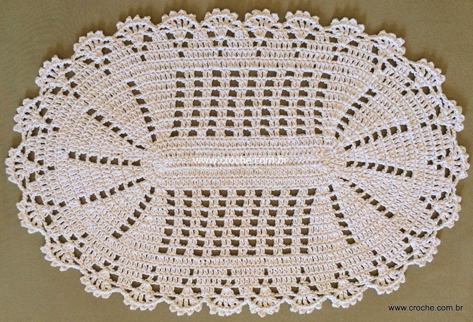 Croche Com Br Fatima Pinterest Croch Tapetes E Praia De Ver O -> Tapete De Croche Oval Simples Passo A Passo