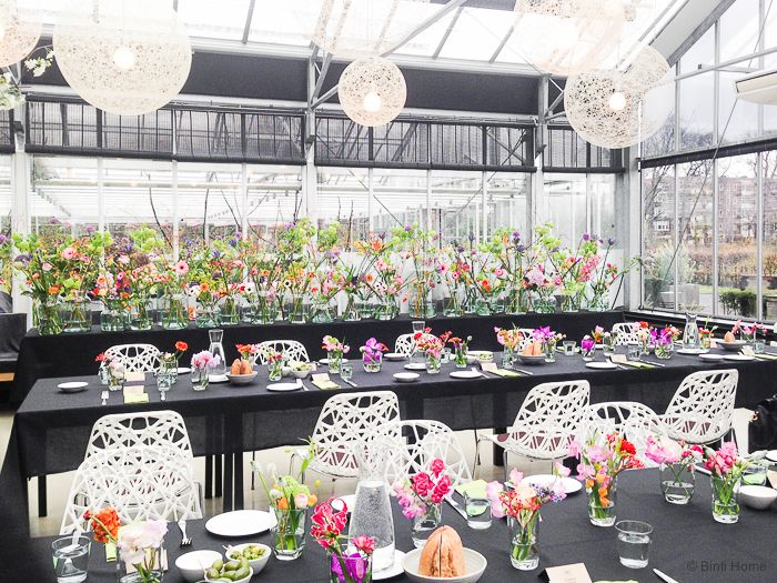 lunch in a greenhouse
