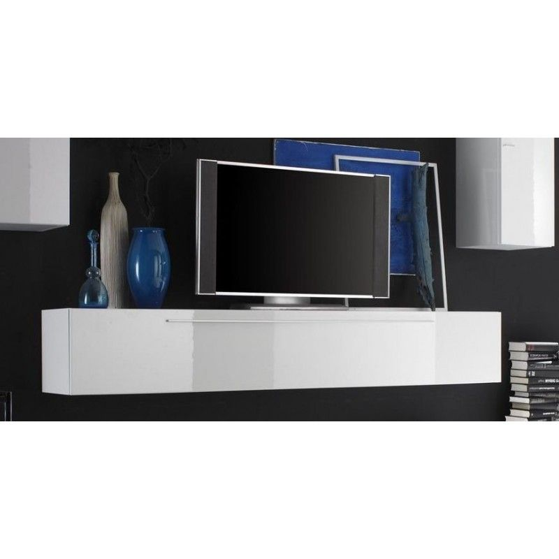 Impressionnant Meuble Tv Blanc Laque A Suspendre Idees