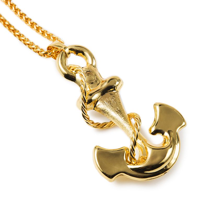 Vintage Navy Anchor Necklace Women  Men Jewelry 18K Real Gold Plated  European Viking Jewelry Wholesale 185cba7d16