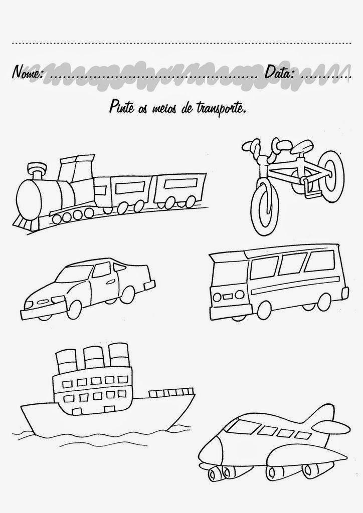 Resultado De Imagem Para Atividades Sobre Os Meios De Transportes