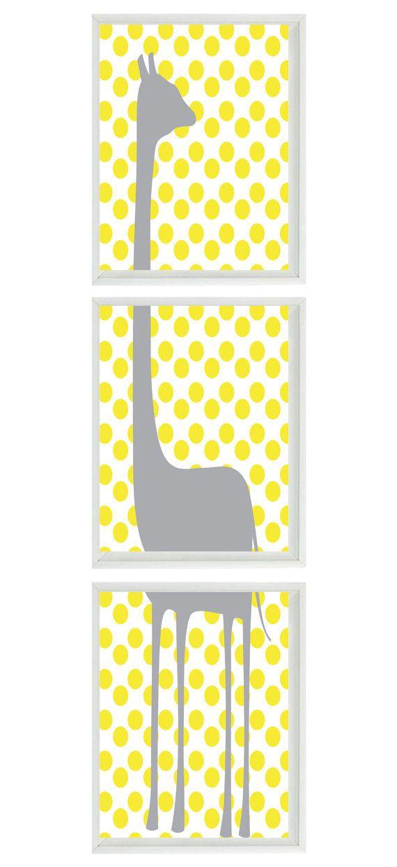Giraffe Nursery Wall Art Print - Gray Yellow Decor Polka Dot ...