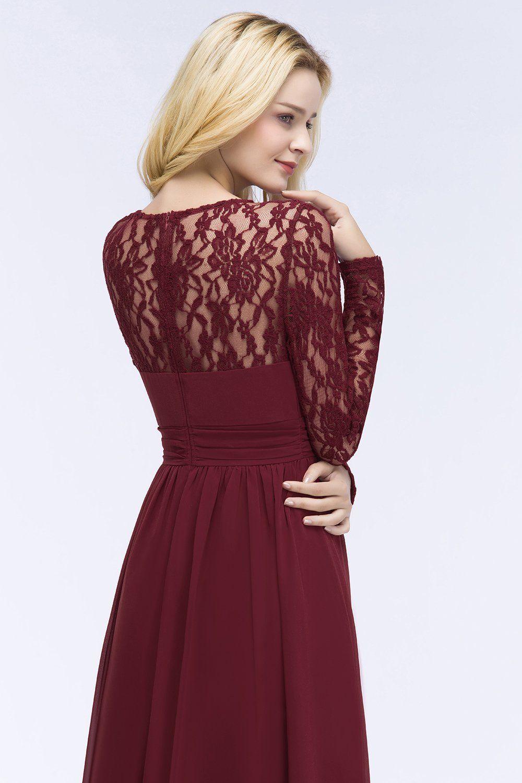 013c28f0e7 #bridesmaiddresses. MisShow Womens Sheer Neck Long Prom Evening Party Bridesmaid  Dress Burgundy ...