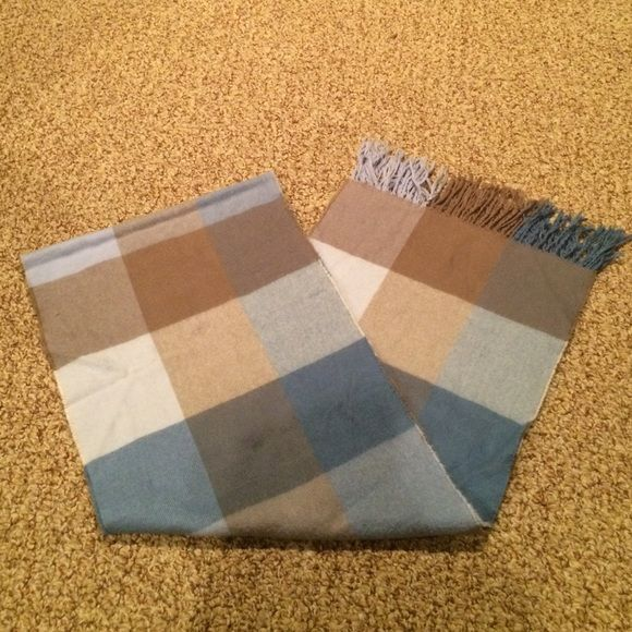 """Plaid cashmere scarf Very soft! Plaid with white and different shades of blue and cream. 64"""" X 11"""". Accessories Scarves & Wraps"""