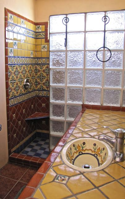 Bao con talavera  RUSTIC HOMES in 2019  Mexican home decor Bathroom Rustic bathrooms
