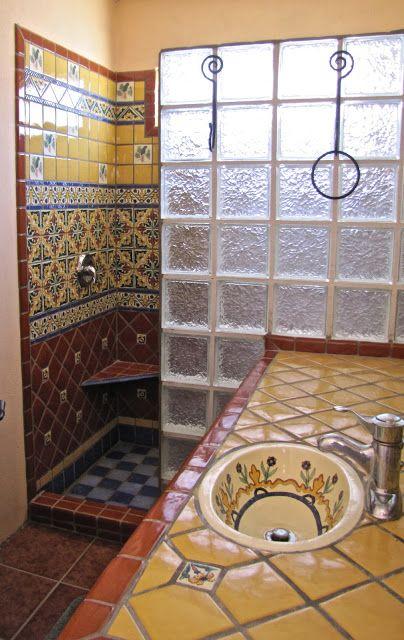 Ba o con talavera rustic homes pinterest mexicans spanish and haciendas - Azulejos banos rusticos ...
