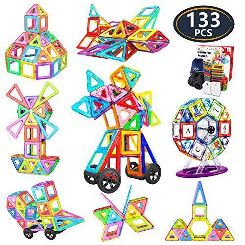 Jasonwell 133Pcs Magnetic Tiles Building Blocks Set for Boys Girls Preschool Educational C