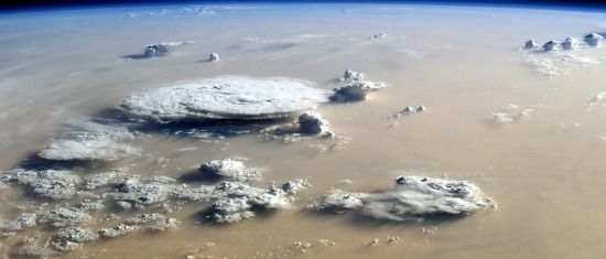 clouds of dust above the sahara from the iss