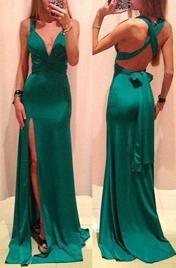 Green side split maxi dress