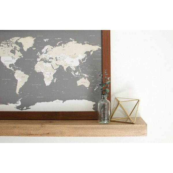 World Map Push Pin Travel Map World Map Wedding Framed World Map... ($130) ❤ liked on Polyvore featuring home, home decor, wall art, home & living, home décor, wall décor, wall hangings, white, white wall art and map wall hanging
