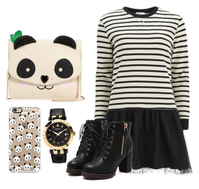 """""""Pandas!!!!"""" by melissa013 ❤ liked on Polyvore featuring Betsey Johnson, Casetify, Versace, RED Valentino, women's clothing, women's fashion, women, female, woman and misses"""