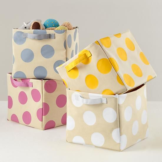 The Land Of Nod | Kids Storage: Polka Dotted Cube Storage Bins Images