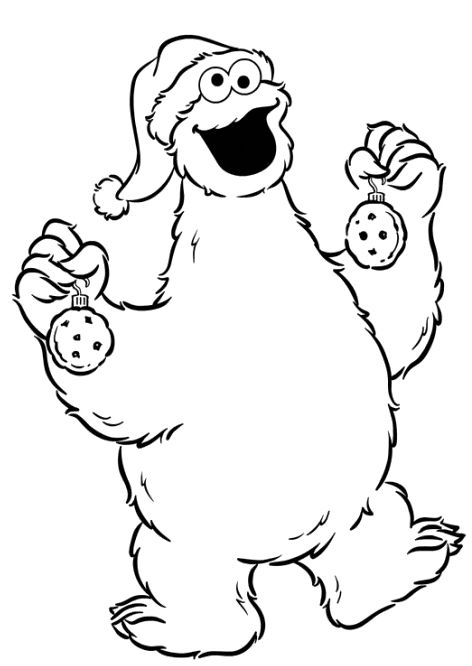 Monster Cookie In The Christmas Coloring Pages Cookie