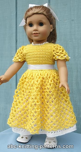 American Girl Doll Princess Dress pattern by Elaine Phillips #dolldresspatterns