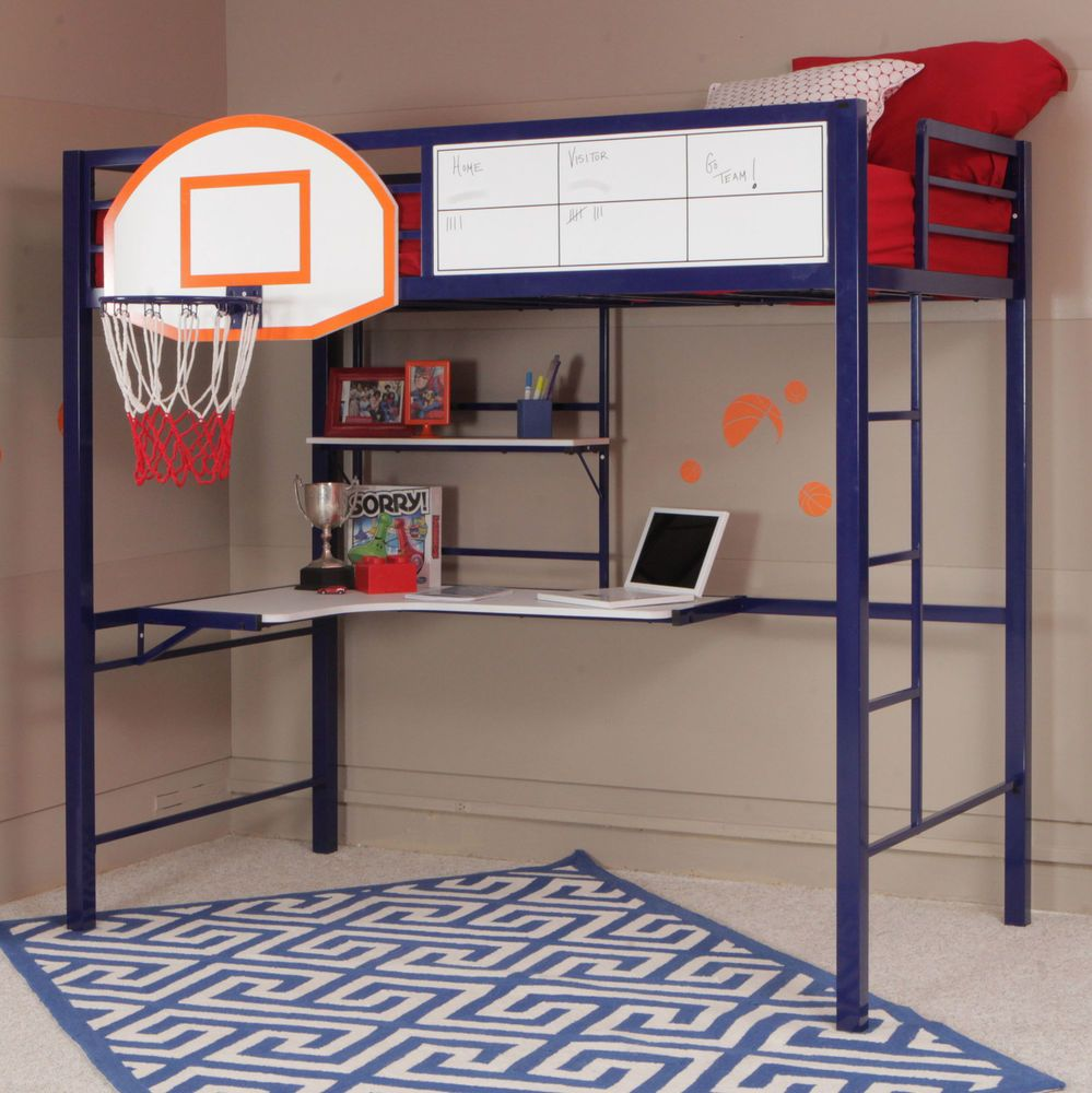 Low loft bed with desk and dresser  Powell Furniture Hoops Basketball Twin Loft Bed with Desk