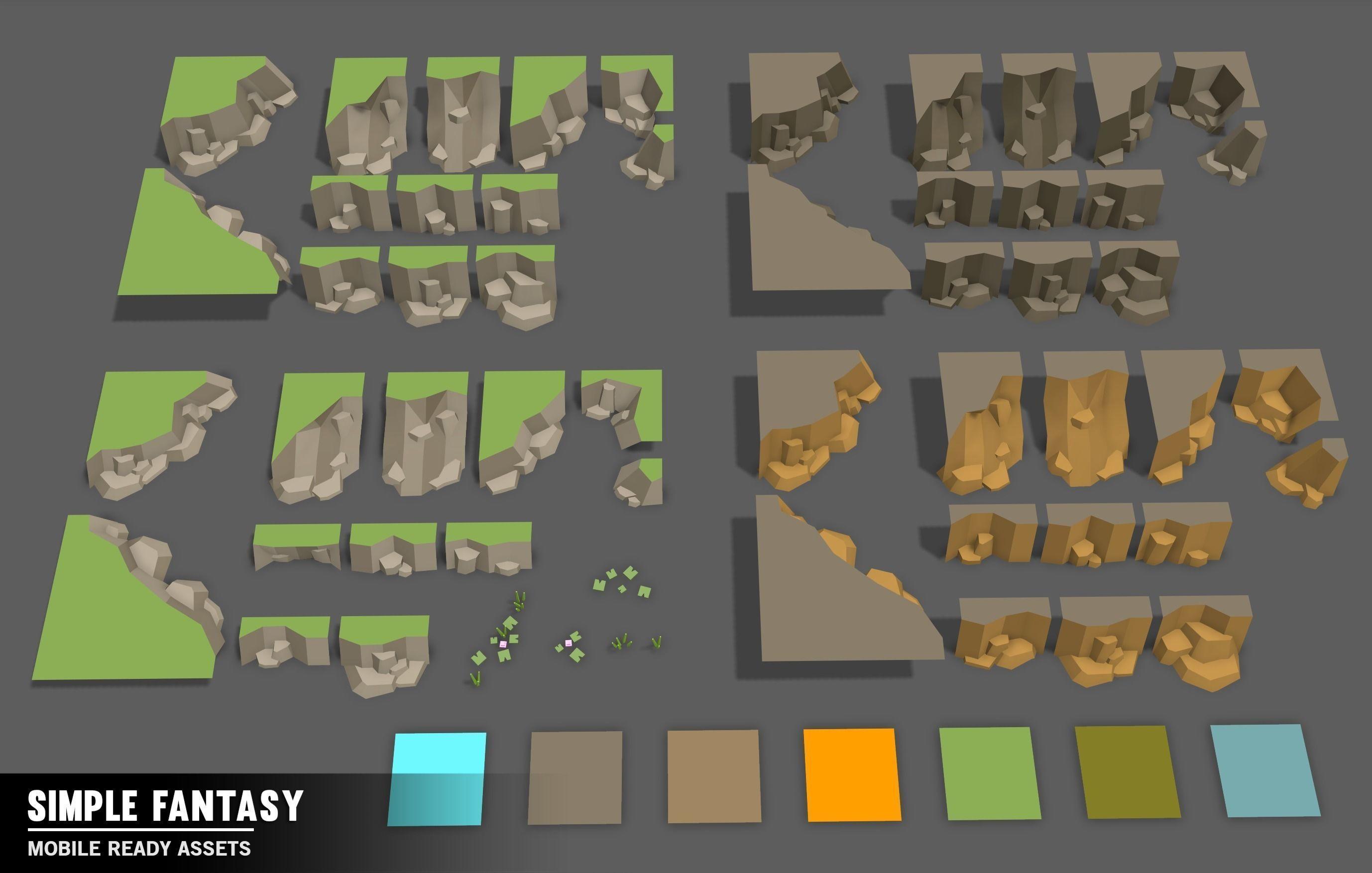 simple fantasy - cartoon assets 3d model low-poly fbx unitypackage