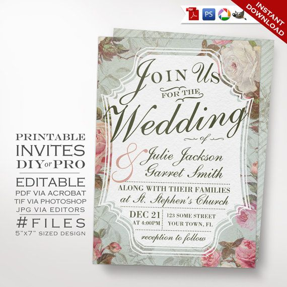 Wedding Invitation Template  Vintage Rose Wedding Invitation