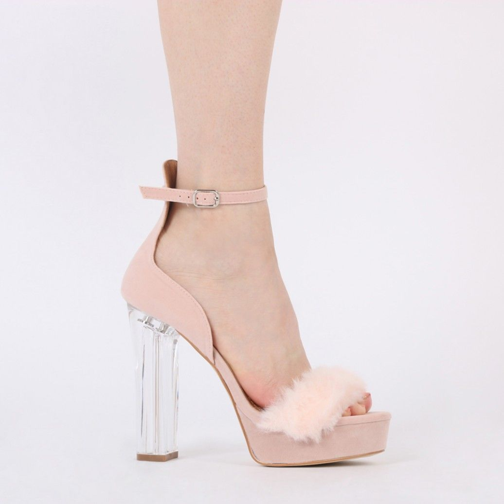 a4f71b940b4 Alison Faux Fur Perspex Heel Platforms in Blush Pink Faux Suede ...