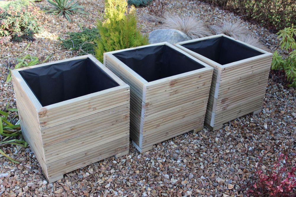 Square large wooden garden planter trough in decking x3 for Garden decking planters