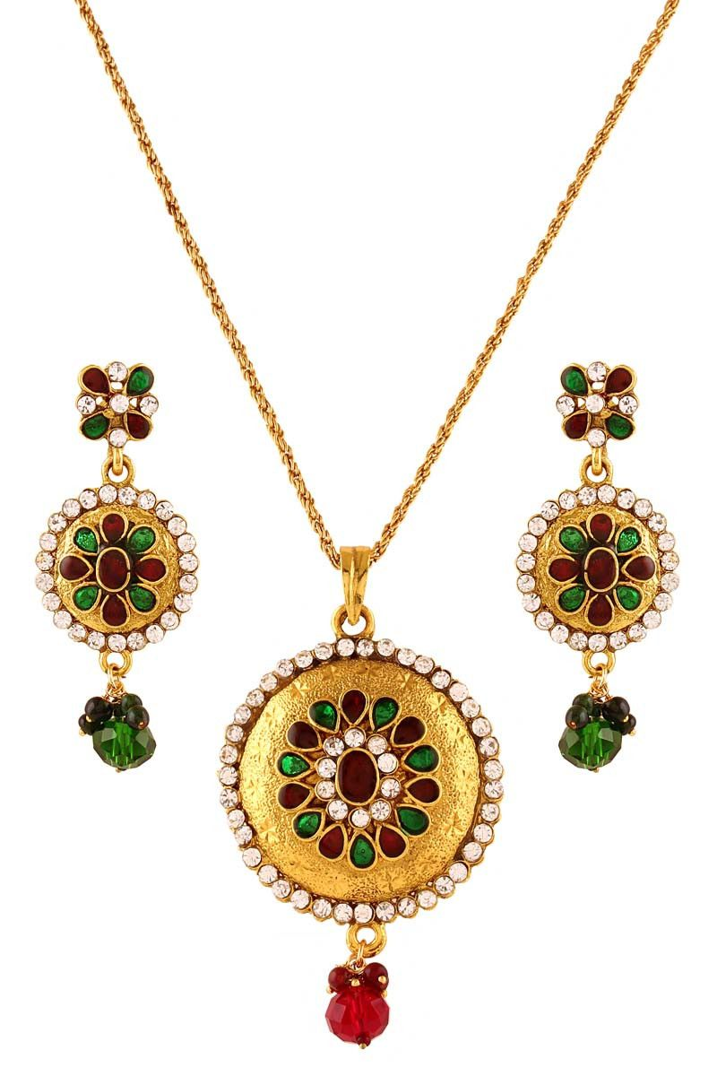 Multi gold plated austrian diamond pendant set pendant sets