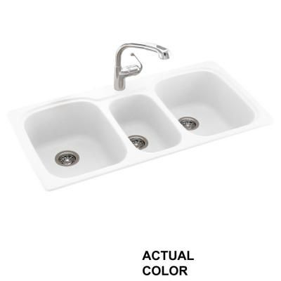null Dual Mount Composite 44 in. 1-Hole Triple Bowl Kitchen Sink ...