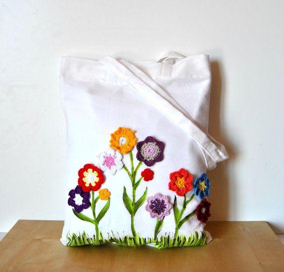 Flowers Tote bag, handpainted tote crochet flowers, Fabric twhite ...