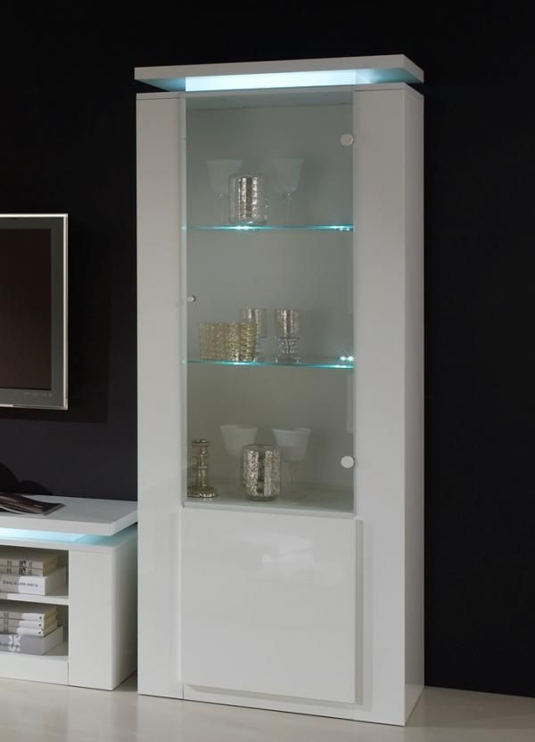 Bianca Modern Tall Display Cabinet With Lights In White