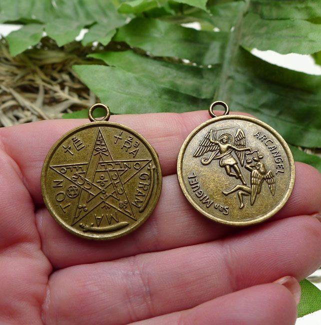 San miguel arcangel st michael archangel tetragrammaton pendants san miguel arcangel st michael archangel tetragrammaton pendants esoteric pentagrams antique brass bulk 10 aloadofball Images