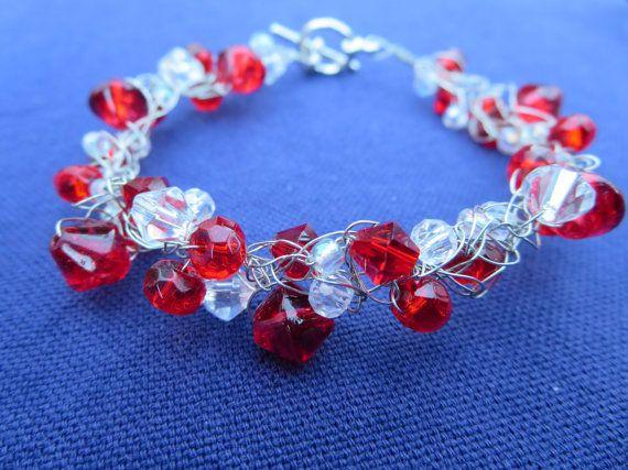 Red Wire Crochet Rock Candy Bracelet by RockCandyCrafts on Etsy, $12.00