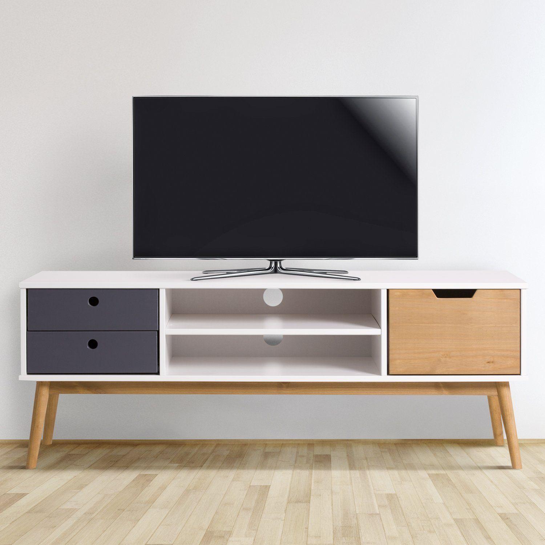 Meuble Tv Leti Blanc Fabrique En Bois De Pin Massif 1 Porte Y 2 Tiroirs 140 Cm Amazon Fr Cuisine Maison Meuble Tv Pin Massif Tiroir