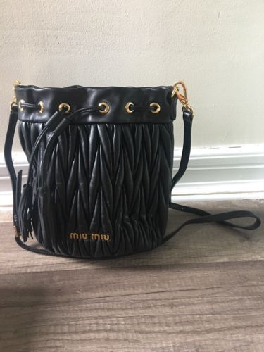 d306eaf12424 Details about Authentic Miu Miu Matelasse Leather Bucket Bag - Used ...