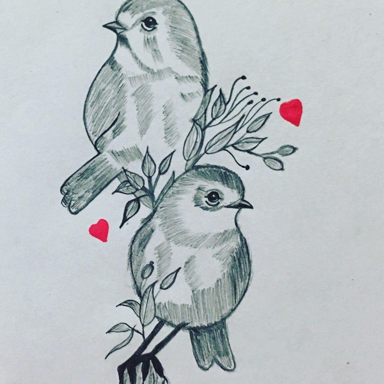 Love Birds Bird Pencil Drawing Love Birds Drawing Bird Pencil Sketch