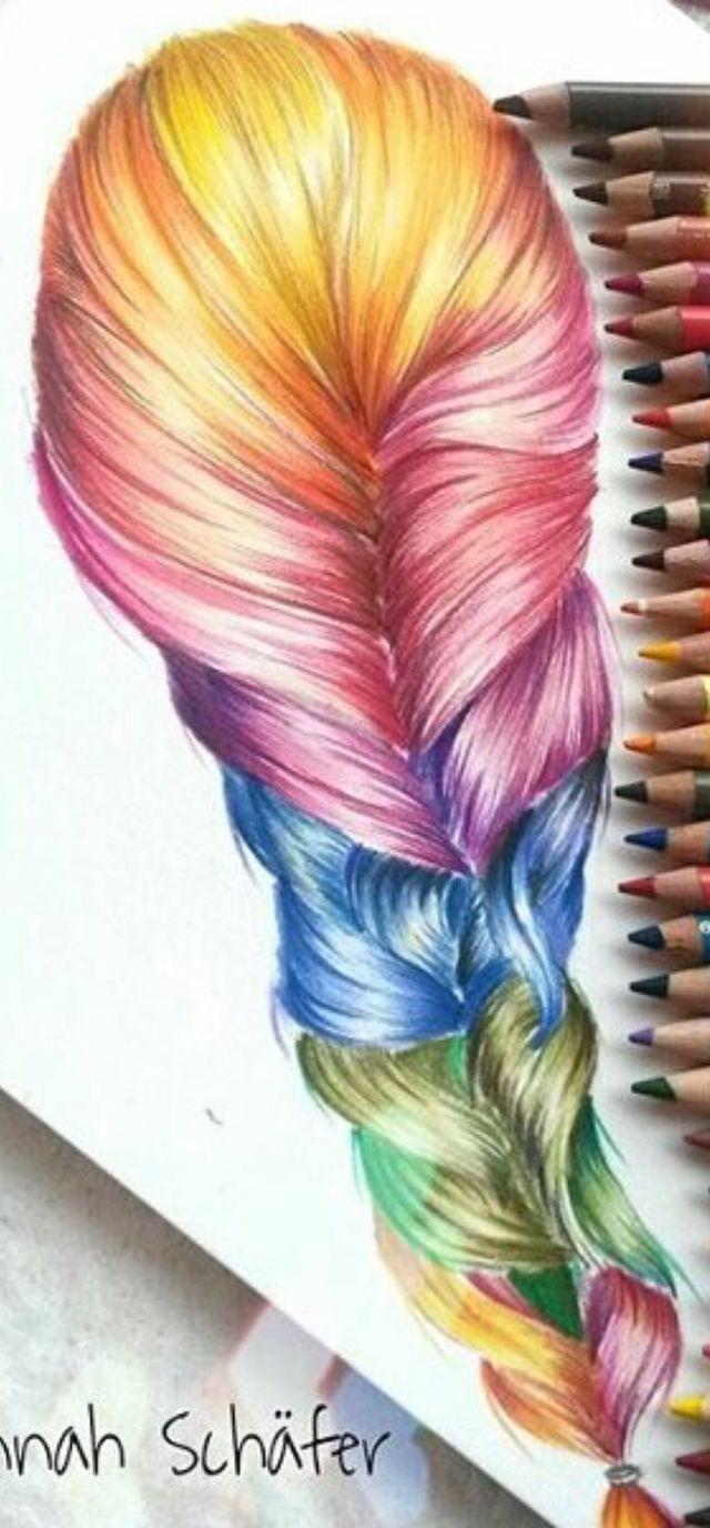 rainbow braid hairs sketches