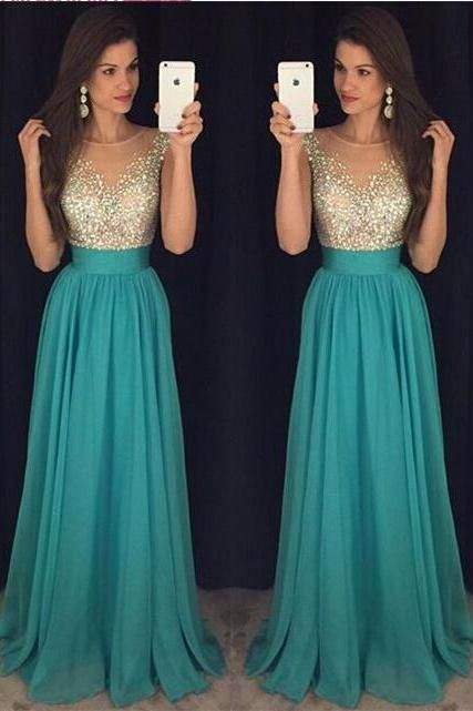 2017 Sexy Crew Neck Chiffon Long Prom Dresses ,Tulle Beaded Stones Top Floor Length Evening Party Dresses ,Plus Size Prom Dresses , Plus Size Short Prom Dresses