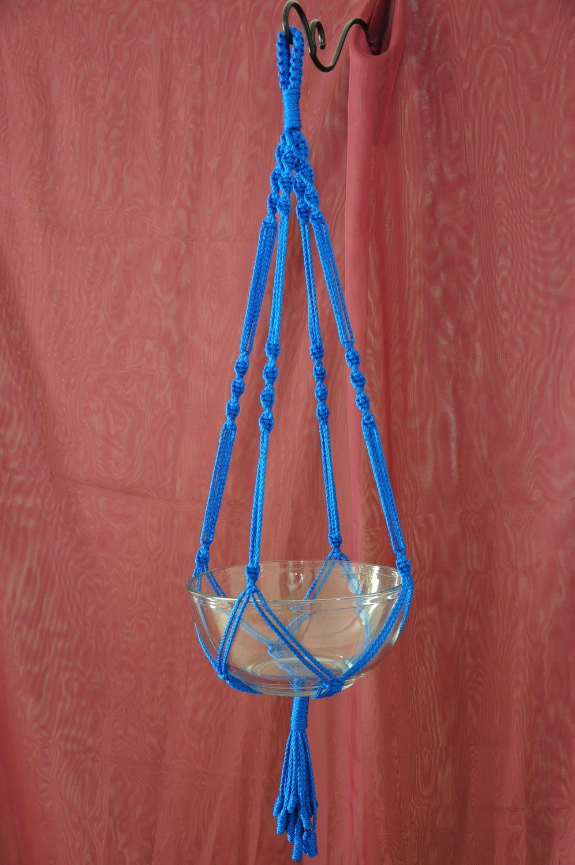 Hand Crafted Macrame Plant Hanger- Royal Blue. $11.99, via Etsy.