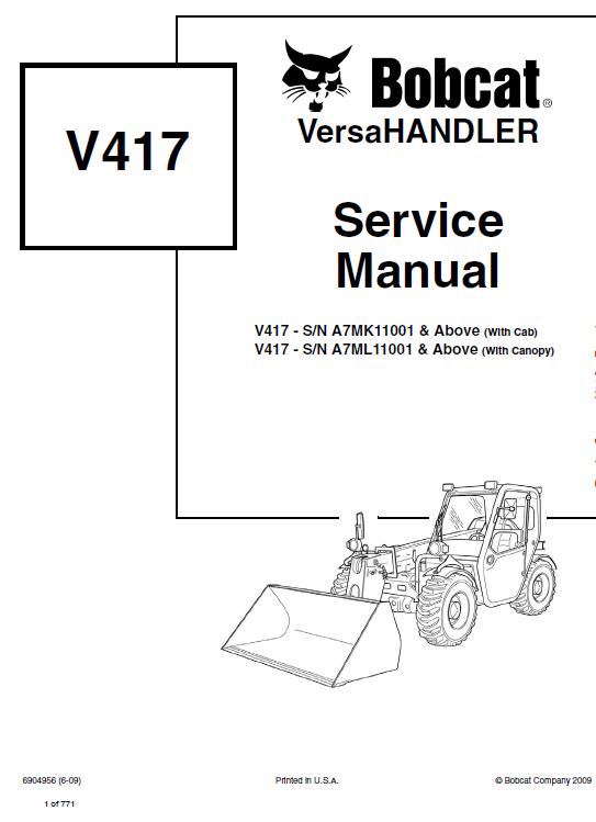 Bobcat V417 VersaHANDLER Telescopic Service Manual