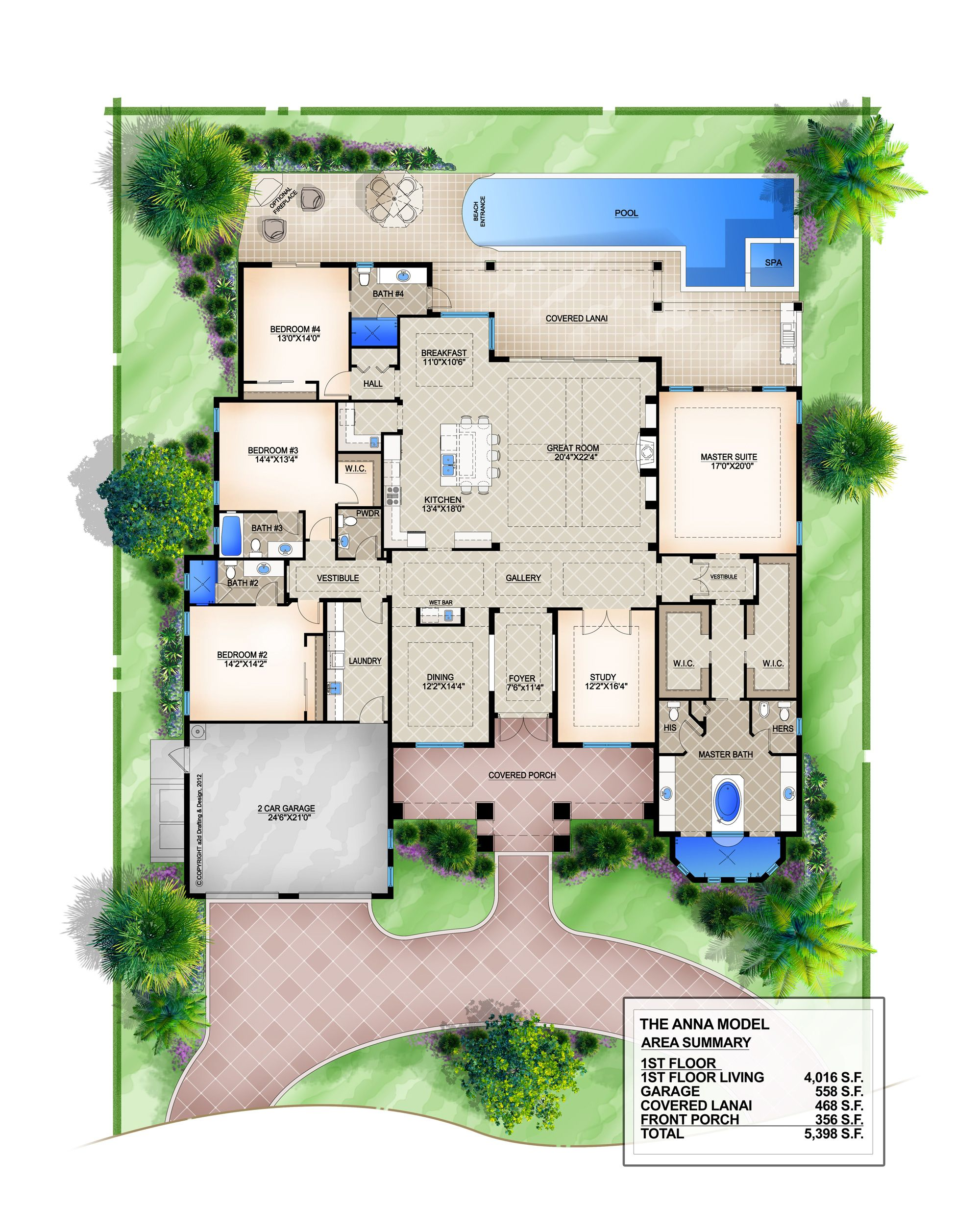 Anna coastal floor plan 4 bedroom 4 1 2 bath 1 story 2 for 6 car garage house plans