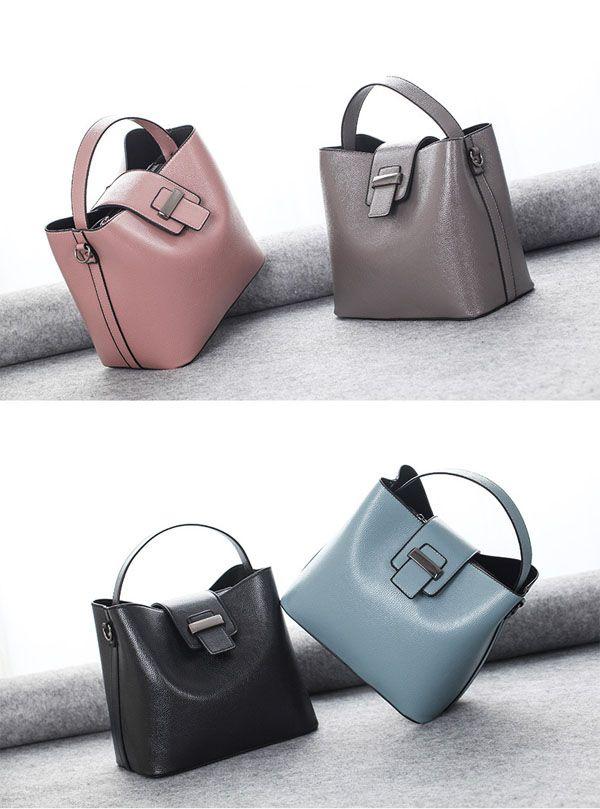 Retro Women Pu Leather Bucket Bag Casual Crossbody Bag