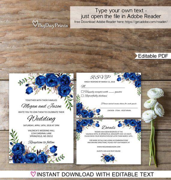 Blue Wedding Invitation Template Royal Blue Wedding Etsy Blue Wedding Invitations Royal Blue Wedding Invitations Wedding Invitation Templates