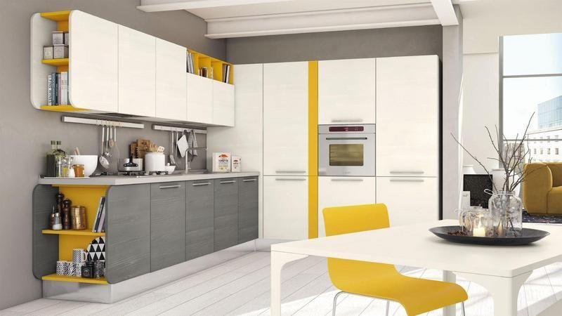 Cucine Bianco Grigio : Cucina angolare bianco grigio e giallo in melaminico home sweet