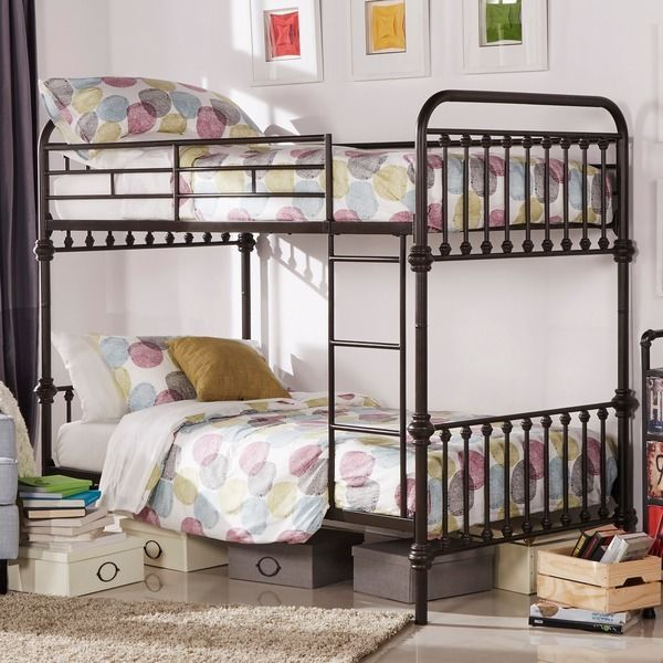 Vintage Metal Bunk Bed Antique Twin Rustic Wrought Iron Kids Bedroom  Furniture