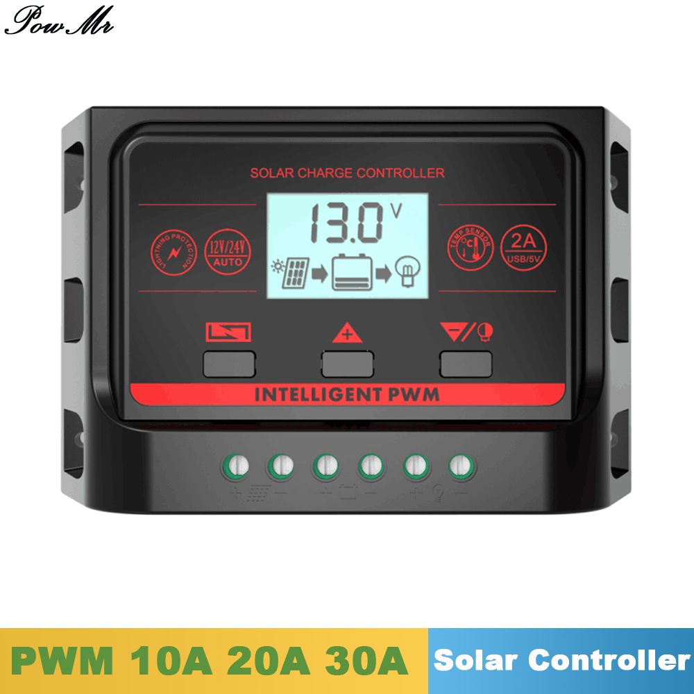 Pwm Solar Charge Controller 10a 20a 30a Back Light Lcd Display Solar Regulator 12v 24v Auto With 5v Dual Usb Solar Panel Charger Solar Usb Solar Panel Battery
