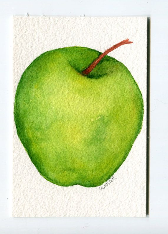 ACEO Granny Smith Apple Watercolors Painting Original Apple Art Card that lovely green