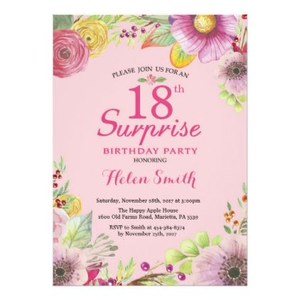 surprise floral 18th birthday