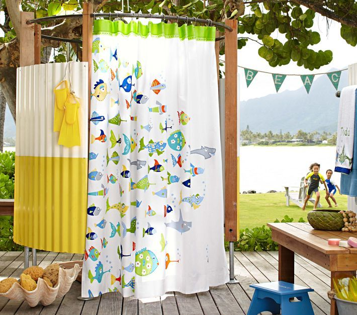 Pottery Barn Kids Beach Bathroom That Is A FUN Shower Curtain And I Like The BEACH Flag Bunting Just Got This