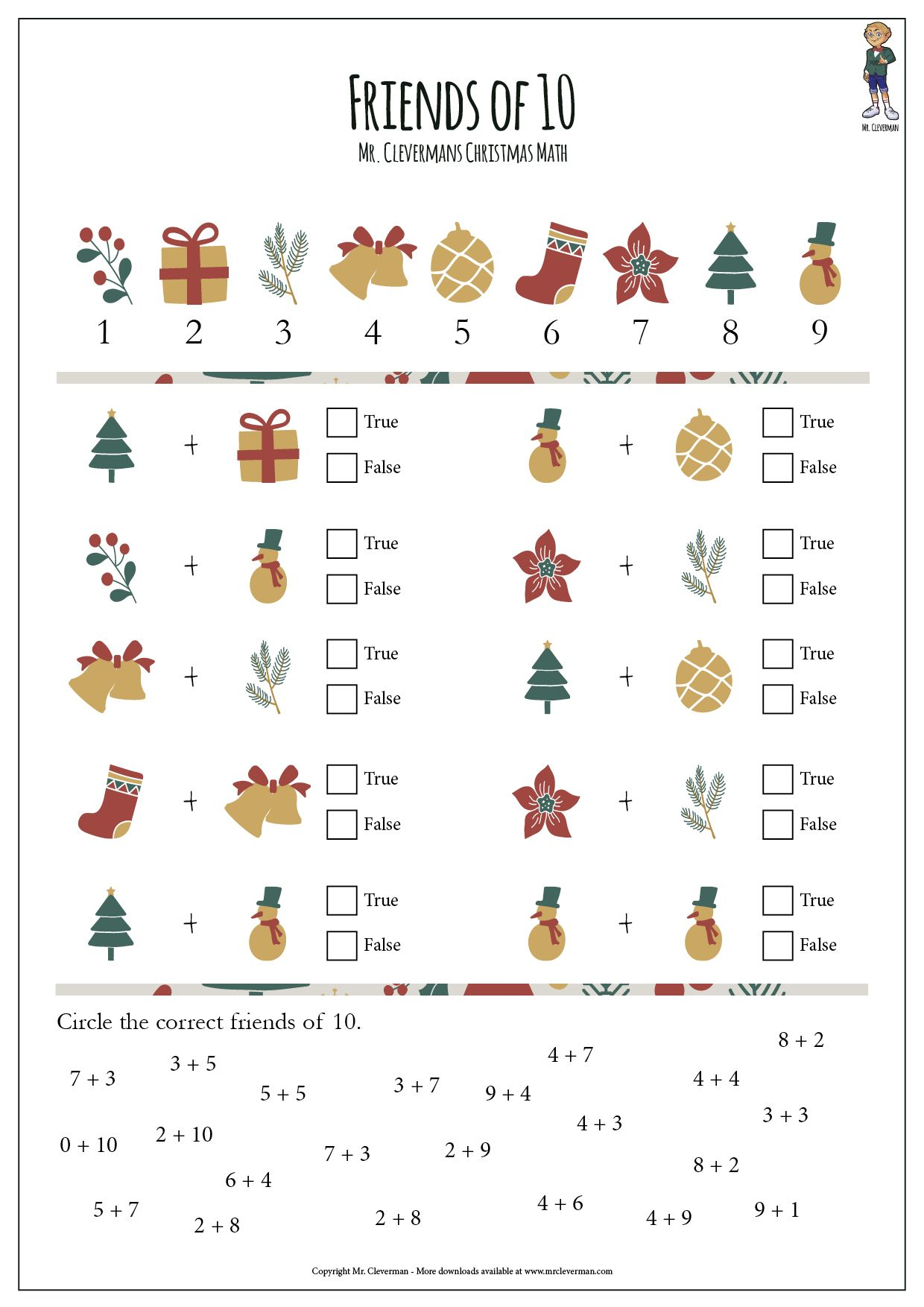 Christmas Friends Of 10 Christmas Math Christmas Worksheets Free Math Worksheets